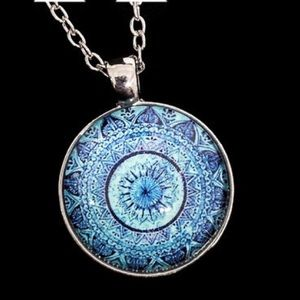 NEW PENDANT Glass Om Mandala Cabochon Necklace